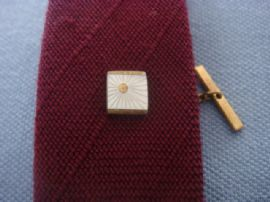 Art Deco Revival Tie Tack - Sunburst Design in Mother of Pearl 1960s  (SOLD)